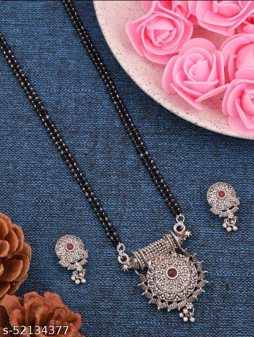SGC New Traditional Oxidised Silver Designer Jewellery Mangalsutra With matte Finished 22 Inches long For women with Beautiful Earrings Set