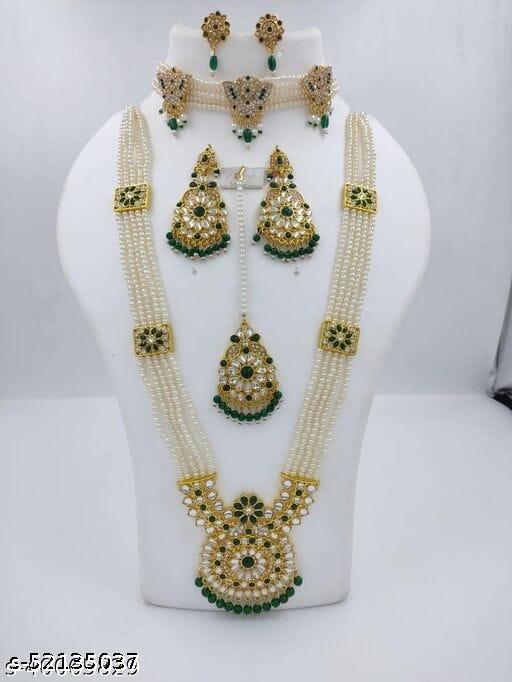 Twinkling Chunky Women Jewellery Combo Set(Green)