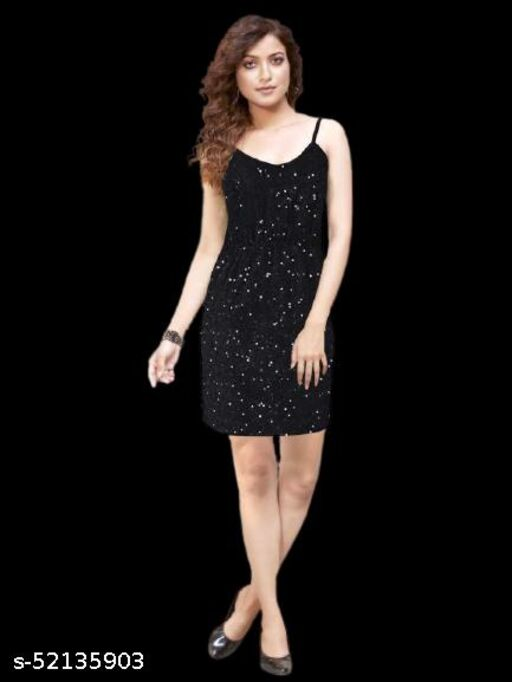 HAPPY SHOP LAUNCH NEW TRENDY SLEEVELESS SEQUENCE SHORT DRESS