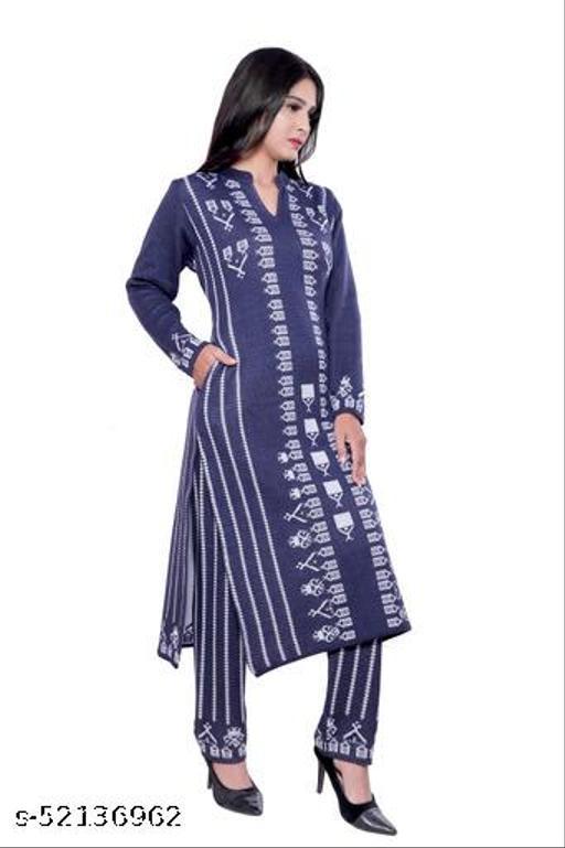 Woollen Navy blue designer kurti for women