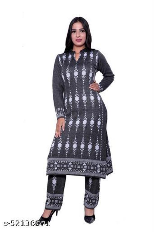 Woollen Grey designer kurti Set  for women