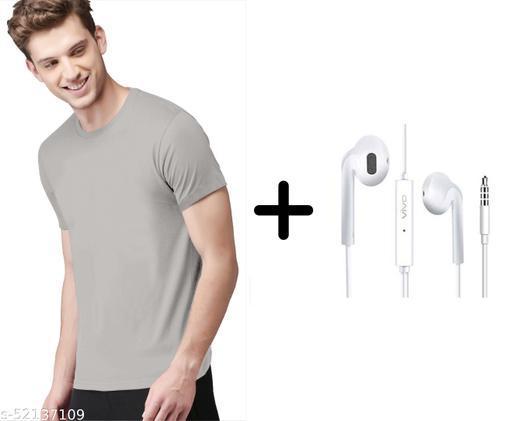 branded plain half sleeve grey tshirt with vivo earphones free