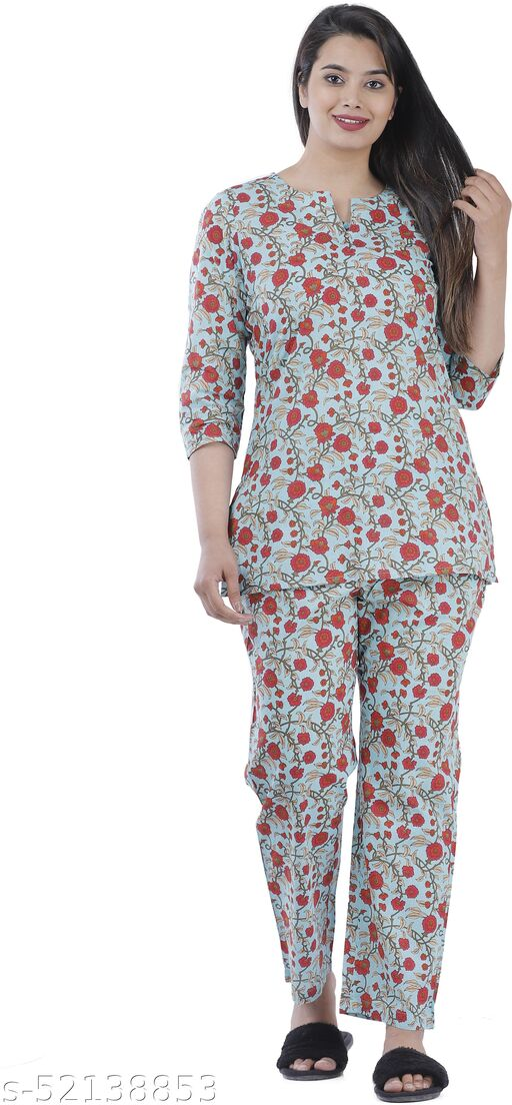 Women Floral Print Multicolor Cotton Night Suit Set