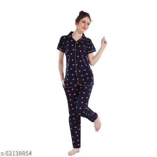 Women Floral Print Blue Rayon Night Suit Set