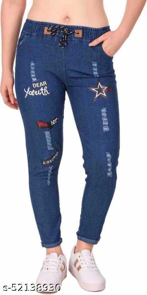 Saman Fashion Wear Jogger Fit Women Youth Print Dark Jeans