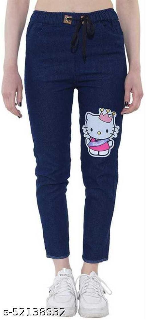 Saman Fashion Wear Jogger Fit Women Kitty Print Dark Blue Jeans