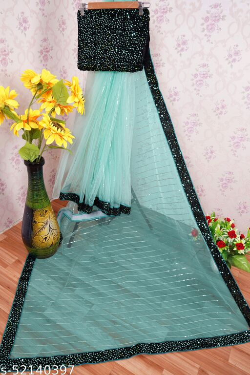 Designer New Weading, Party & Fastival Collection On Heavy Butterfly Net Sequins Work Sea Green Color Saree & Sea Green Color Sequins Work Blouse (5.5 Meter_Unstitched Separate  Blouse)