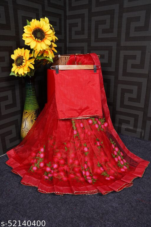 Designer New Weading, Party & Fastival Collection On Heavy Tisue Net Embroidery Flowered Work Red Color Saree (5.5 Meter_Unstitched Separate  Blouse)
