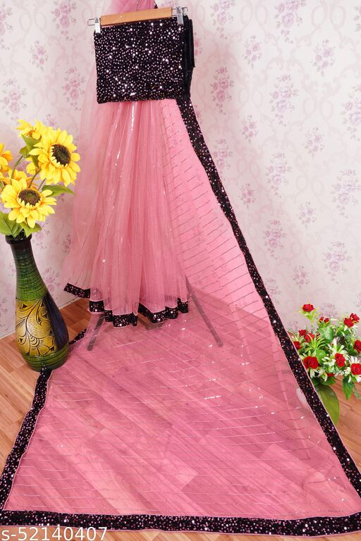 Designer New Weading, Party & Fastival Collection On Heavy Butterfly Net Sequins Work Pink Color Saree & Pink Color Sequins Work Blouse (5.5 Meter_Unstitched Separate  Blouse)