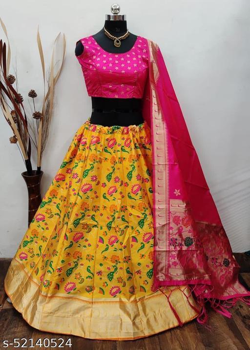 Krishna Tex Yellow Brocade Fabric with inner cancan & canvas Semi stitched Lehenga Choli Dupatta