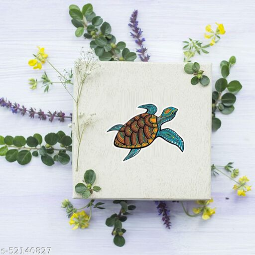 Sudarshan Sticker colorful tortoise Stickers, Self Adhesive (Pcs of 65)