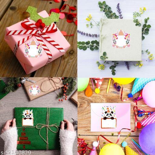 Sudarshan Sticker Happy Birthday Panda sticker for gifts, Self Adhesive (Pcs. Of 48)