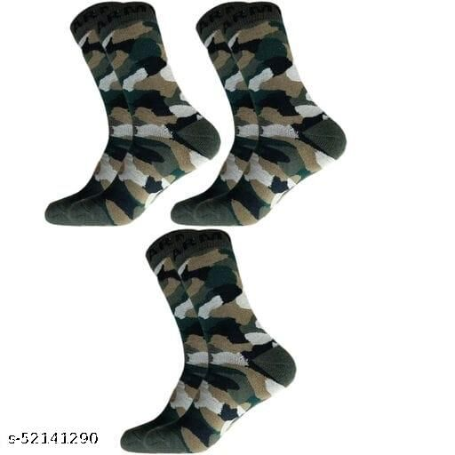 Men's Organic High Quality Army Patterned Woollen Cotton Odour-Free Socks (Multicolour, 3 Pair)