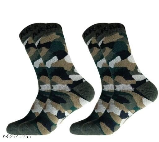 Men's Organic High Quality Army Patterned Woollen Cotton Odour-Free Socks (Multicolour, 2 Pair)