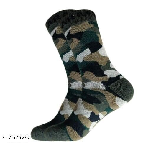 Men's Organic High Quality Army Patterned Woollen Cotton Odour-Free Socks (Multicolour, 1 Pair)