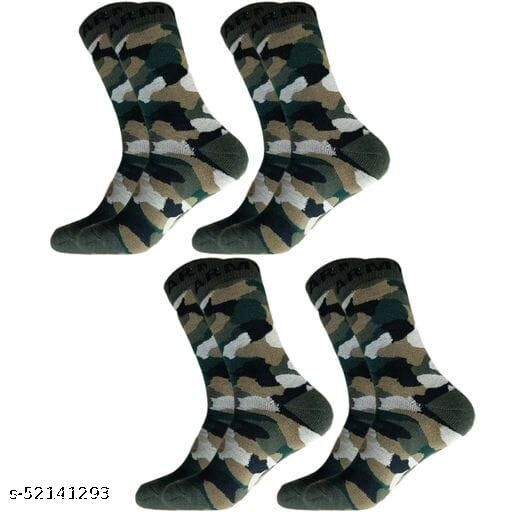 Men's Organic High Quality Army Patterned Woollen Cotton Odour-Free Socks (Multicolour, 4 Pair)