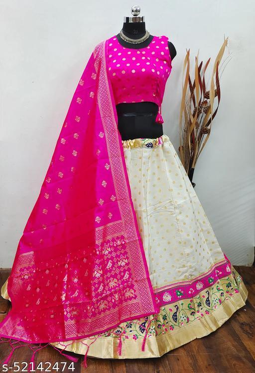 White Brocade Fabric with inner cancan & canvas Semi stitched Lehenga Choli Dupatta
