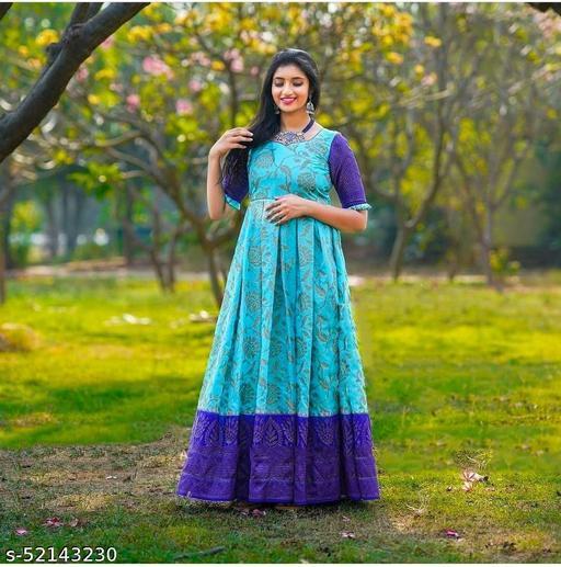 Sky Blue Colored Jaquard Designer Gown