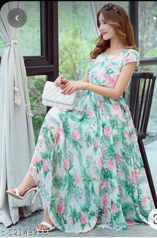 PRINTED GREEN GEORGETTE STITCHED GOWN