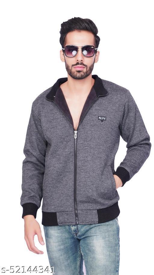 F10 Mens Woolen Regular Fit Solid Round Collar Full Sleeve Zipper Jacket