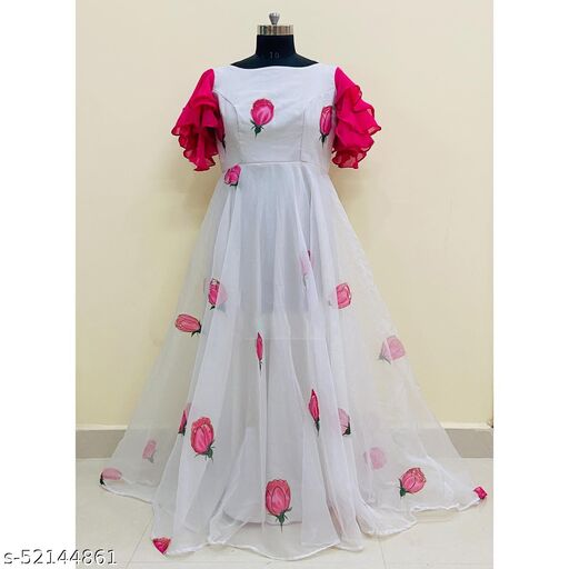 Exclusive White Printed Gown
