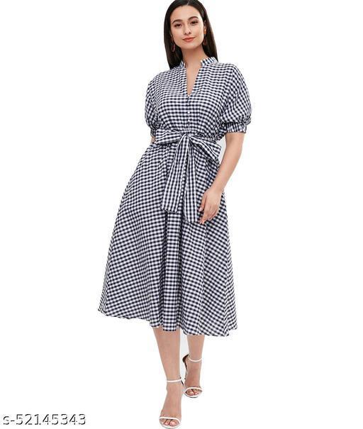 Ritsila Women's Fit And Flare Fancy Western Cotton Midi Checks Print Dress