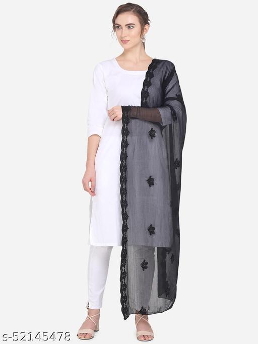 Priyam Fashion Black Chiffon Heavy Embroidered Dupatta