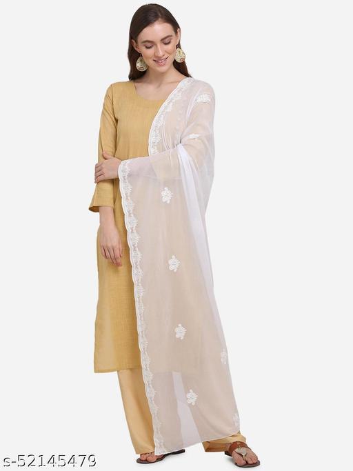 Priyam Fashion White Chiffon Heavy Embroidered Dupatta