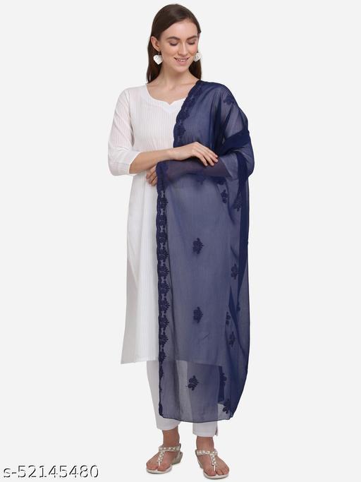 Priyam Fashion Navy Blue Chiffon Heavy Embroidered Dupatta