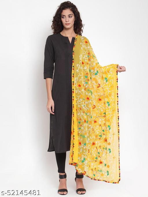 Priyam fashion Yellow Chiffon Embroidered Dupatta