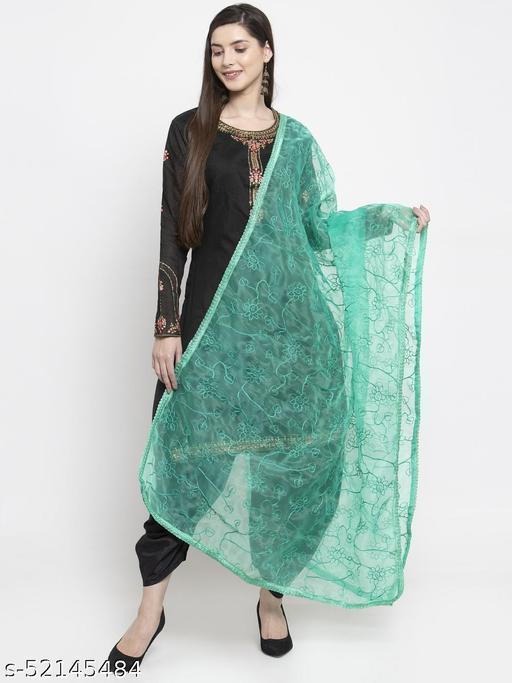 Priyam fashion Sea Green Organza Heavy Embroidered Dupatta
