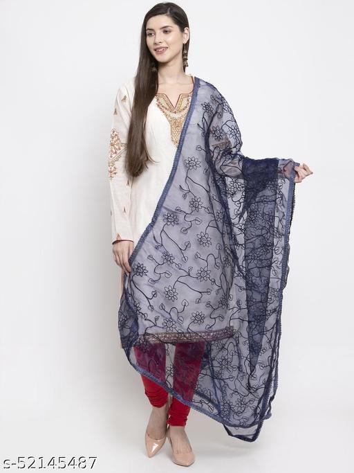 Priyam fashion Navy Blue Organza Heavy Embroidered Dupatta