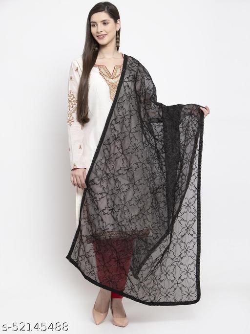 Priyam fashion Black Organza Heavy Embroidered Dupatta