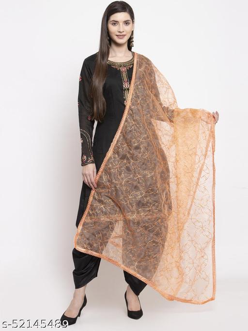 Priyam fashion Orange Organza Heavy Embroidered Dupatta