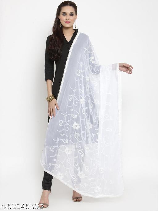 Priyam fashion White Nazneen Karachi Work Dupatta