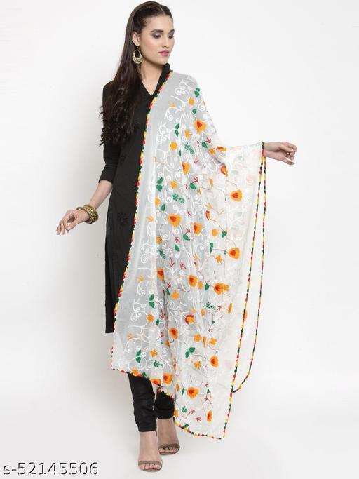 Priyam fashion White Nazneen Phulkari Work Dupatta