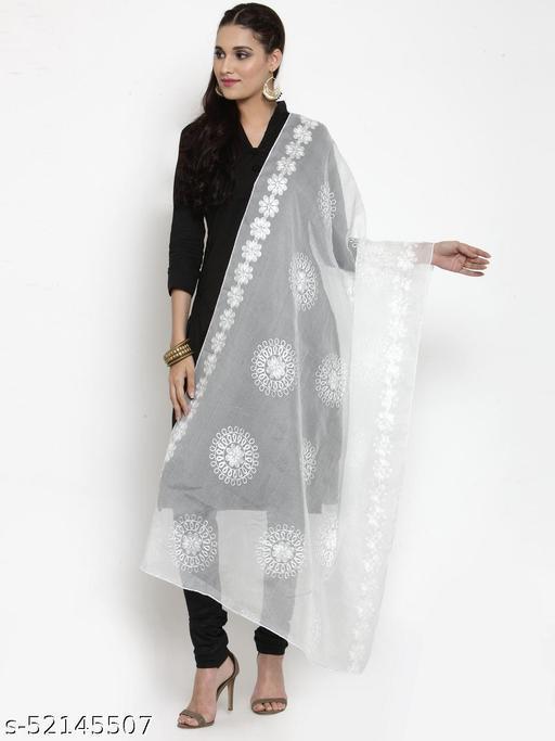 Priyam fashion White Moonga Cotton Karachi Work Dupatta