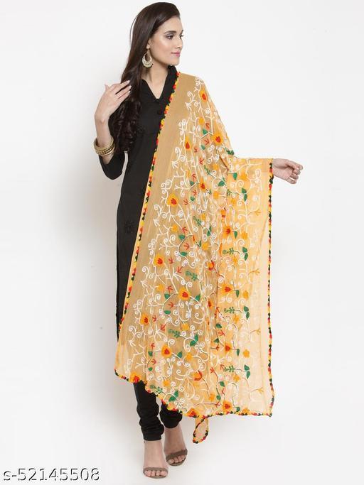 Priyam fashion Orange Nazneen Phulkari Work Dupatta