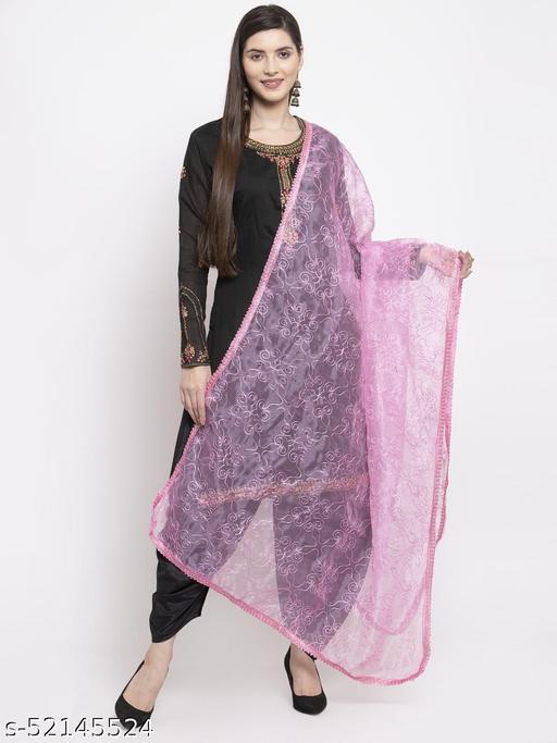 Priyam fashion Baby Pink Organza Heavy Embroidered Dupatta