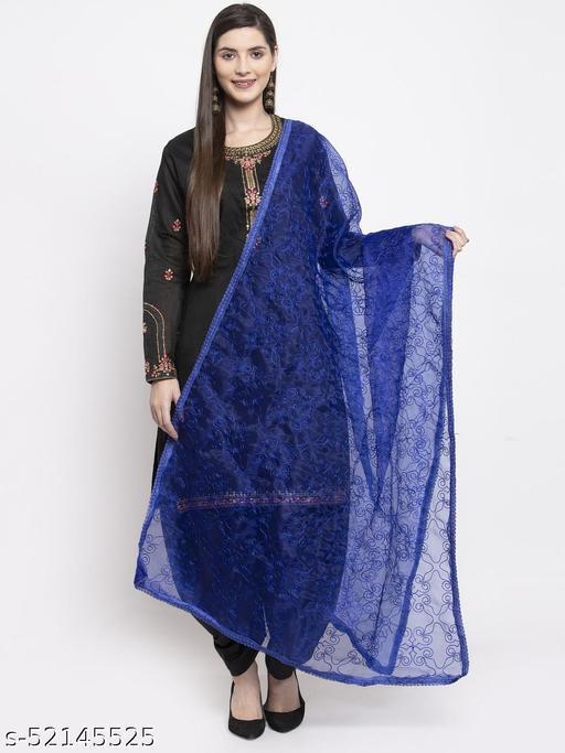 Priyam fashion Royal Blue Organza Heavy Embroidered Dupatta