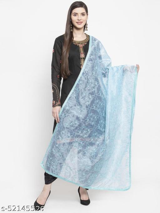 Priyam fashion Sky Blue Organza Heavy Embroidered Dupatta