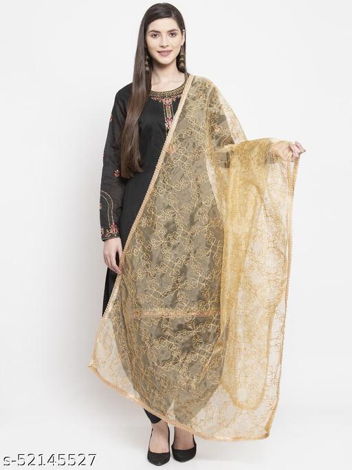 Priyam fashion Beige Organza Heavy Embroidered Dupatta