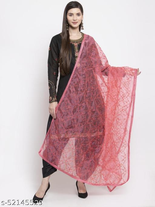 Priyam fashion Coral Pink Organza Heavy Embroidered Dupatta