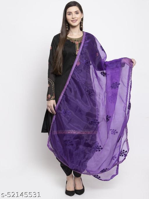 Priyam fashion Purple Organza Heavy Embroidered Dupatta