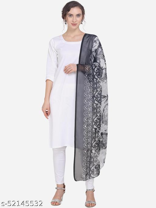 Priyam Fashion Black & White Chiffon Heavy Embroidered Dupatta