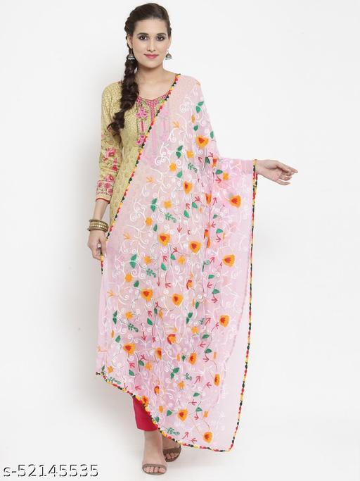 Priyam fashion Baby Pink Nazneen Phulkari Work Dupatta