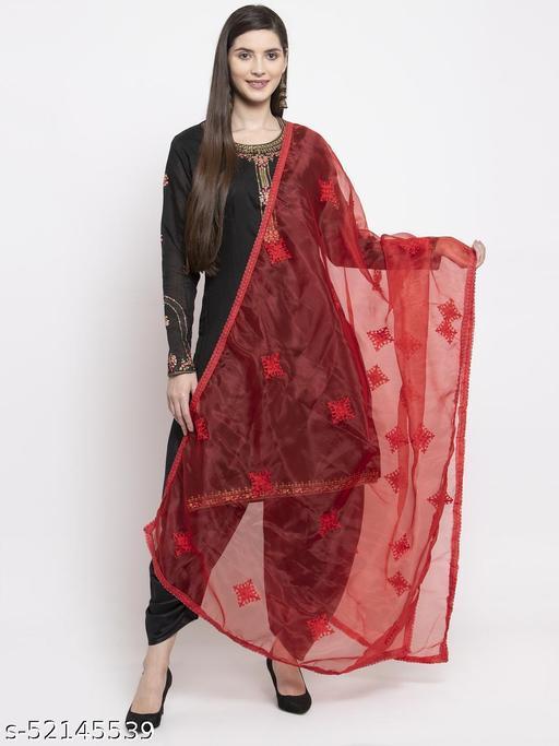 Priyam fashion Red Organza Heavy Embroidered Dupatta