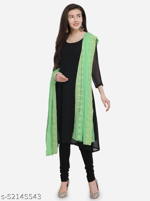 Priyam fashion Green Nazneen Embroidered Women's Dupatta