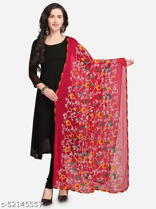 Priyam fashion Rani Pink Nazneen Phulkari Work Women's Dupatta