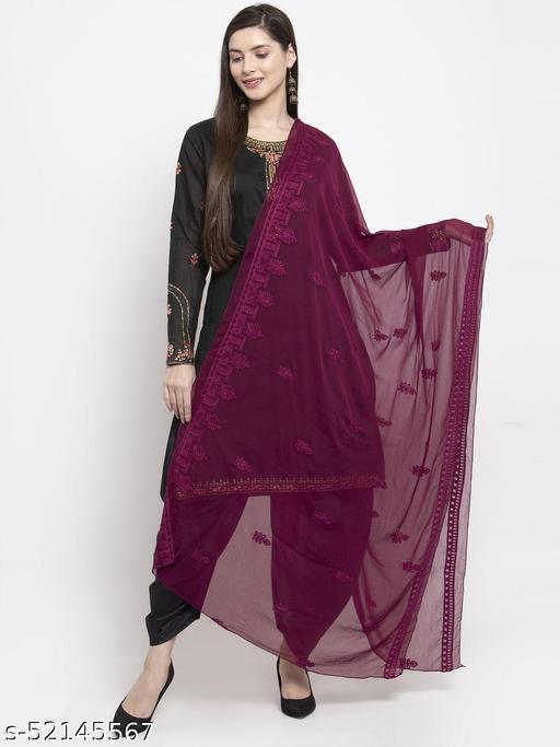 Priyam fashion Magenta Chiffon Heavy Embroidered Dupatta